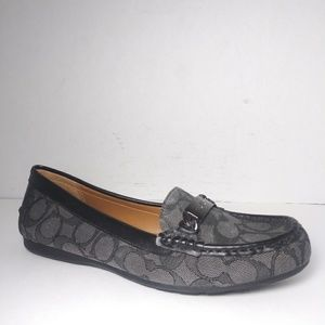 Coach Olive Gray Outline Signature C Loafers Sz 8B